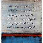 "Blessed Thought, encaustic & mixed media on panel, 23.75 x 11.5"" (sold)"