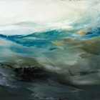 "Day Two, encaustic on panel, 9.75 x 24 x .75"" (sold)"
