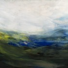 Day 9, encaustic on panel, 11.75 x 23.75""